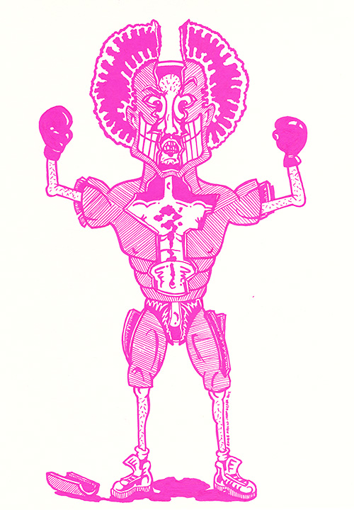 Illustration in a cartoon style of a pink man with with his cracked muscular exterior revealing a weaker man underneath. By Brilliant Input/Output System