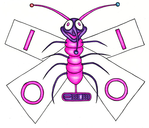 Cartoonish drawing created using only biro pens. A happy pink and purple moth with a DVI style socket for a tail and LED lights for antenae. Has letters I and O on it's wings. By Brilliant Input/Output System