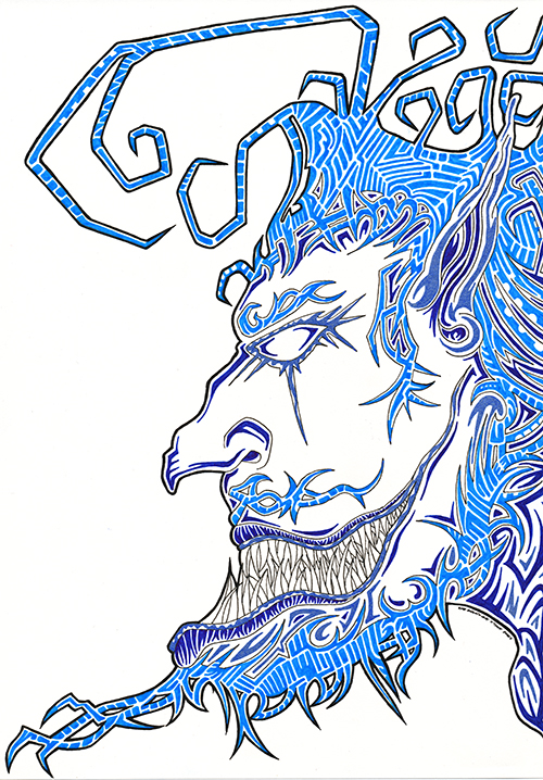 Drawing in a cartoon style. A side view of a man's face using variations of blue. Drawn by Brilliant Input/Output System