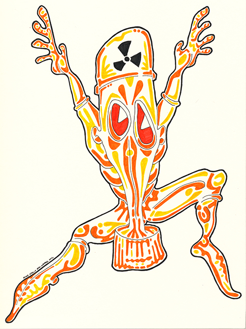 Drawing in a cartoon style. A cartoon man wearing a protective radiation suit jumping at the viewer in an attempt to scare. Drawn by Brilliant Input/Output System