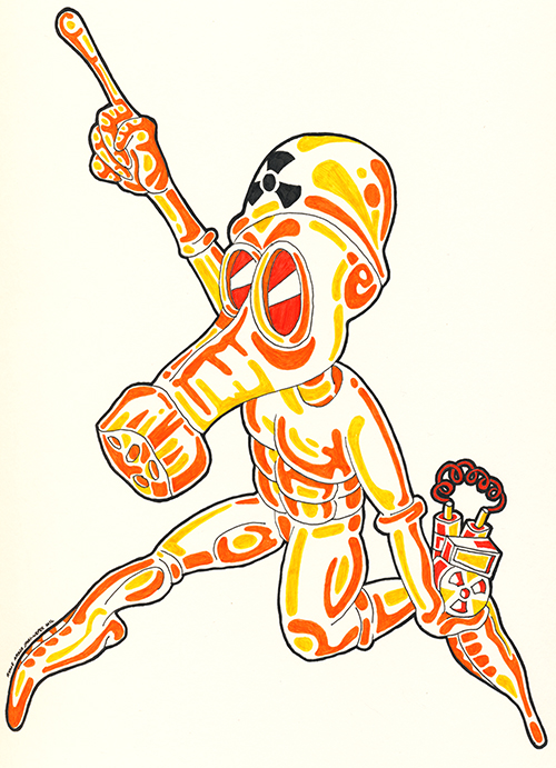 Drawing in a cartoon style. A cartoon man wearing a protective radiation suit carrying a bomb and distracting the viewer by pointing in a different direction. Drawn by Brilliant Input/Output System