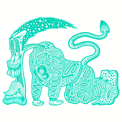 A cartoon style Illustration of a green creature wearing a tracksuit poised to run. It has long hair and a tail and also has its mouth open. Drawn in the style of eighties and nineties skate art. By Brilliant Input/Output System