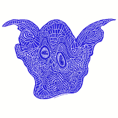 A surreal illustration of a blue face with a huge smile composed of random shapes and patterns. By Brilliant Input/Output System