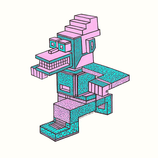 Drawing of a pink and turquoise man doing the runnimg man dance. A detailed and ornate illustration which references Cubism and street art. By Brilliant Input/Output System